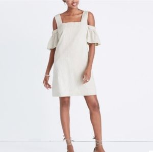 Madewell White Striped Cold Shoulder Shift Dress